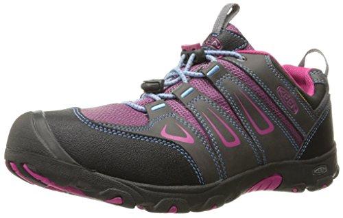 KEEN Oakridge Low WP Hiking Shoe (Little Kid/Big Kid), Magnet/Very Berry, 4 M US Big Kid