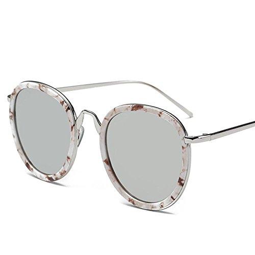 Aoligei Rétro rond cadre Dame lunettes de soleil fashion lunettes de soleil couleur film verres réfléchissants grosse tête G