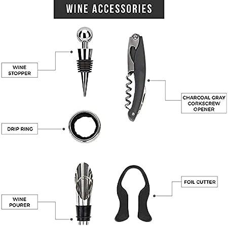 Sacacorchos de Camareros 5pcs Set del abridor de vino Conjunto de botellas de vino Archivo de corcho de la caja de regalo Caja de regalo Accesorios de acero inoxidable Kit de herramientas de accesorio