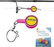 Hook-Eze Fishing Gear Knot Tying Tool | Line Cutter |Cover Hooks on Fishing Pole Travel Safely Fully Rigged fo