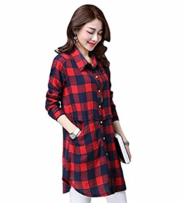 Clean Sale! Must Rose Women's Petite Buffalo Plaid Shirt Button Up Checked Shirt Dress With Pockets