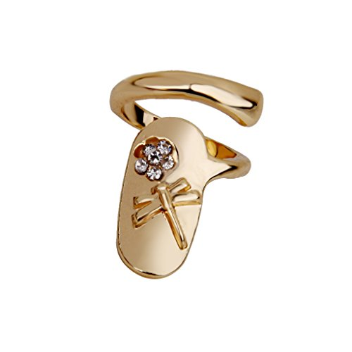 Punk Style Dragonfly Rhinestone Flower Jewelry Fingertip Nail Ring - (Gold Tip Flower Ring)