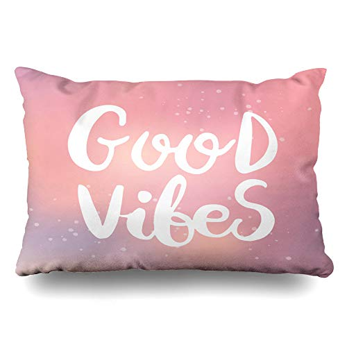 - DIYCow Throw Pillows Covers Design Hand Drawn Phrase Stickers Good Vibes Lettering Motivation Cushion Case Pillowcase Home Sofa Couch Standard Size 20 x 26 Inches Pillowslips