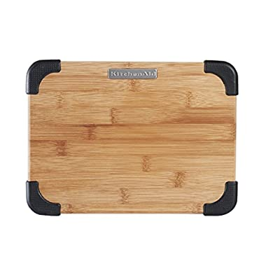 KitchenAid Badge Logo Cutting Board, Bamboo, 8 by 11 Inch, Black