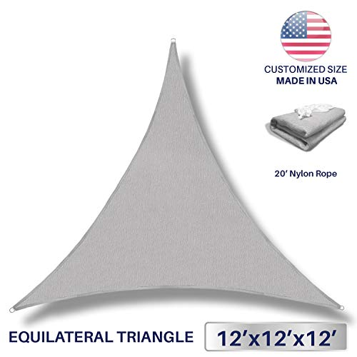 Grey Custom Fabric (Windscreen4less 12' x 12' x 12' Sun Shade Sail UV Block Fabric Canopy in Light Grey Triangle for Patio Garden Patio Customized (3 Year Warranty))
