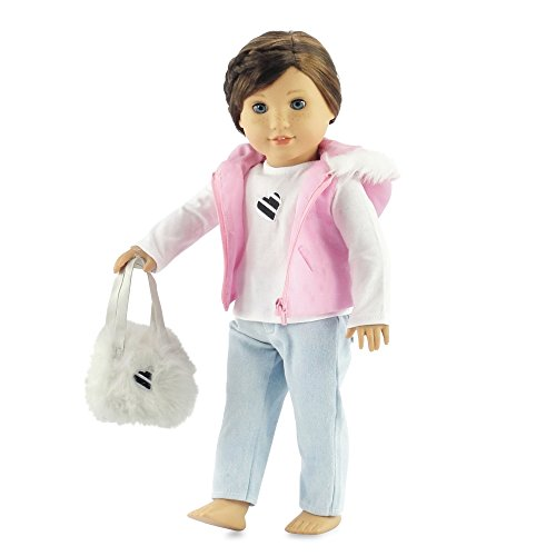 18 Inch Doll Clothes Pink Puffy Hooded Vest with Fur Trim | Clothing Fits American Girl Dolls | Includes Tee, Skinny Jeans & Purse ()