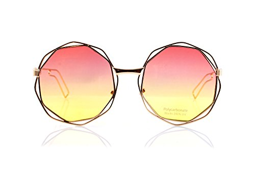 FBL Metal Double Wire Octagonal Hippie Round Flat Lens Sunglasses A079 (Coral ()