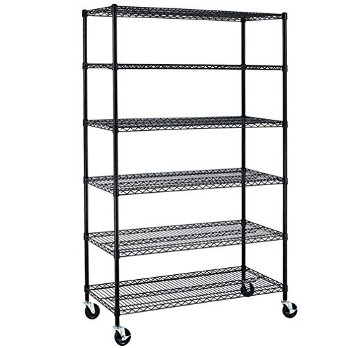"NSF Wire Shelving Unit 6-shelf Large Storage Shelves Heavy Duty Metal Wire Rack Shelving Height Adjustable Commercial Grade Utility Steel Storage Rack on 4"" Casters 3600 LBS Capacity-18x48x76,Black"