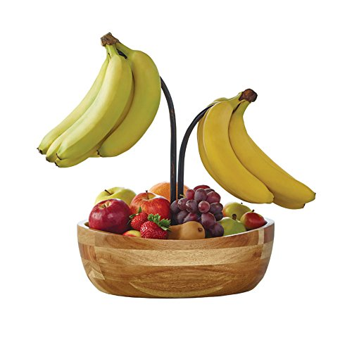 Gourmet Basics by Mikasa Vienna Fruit Bowl With Metal Wire Banana Hook And Holder, 12