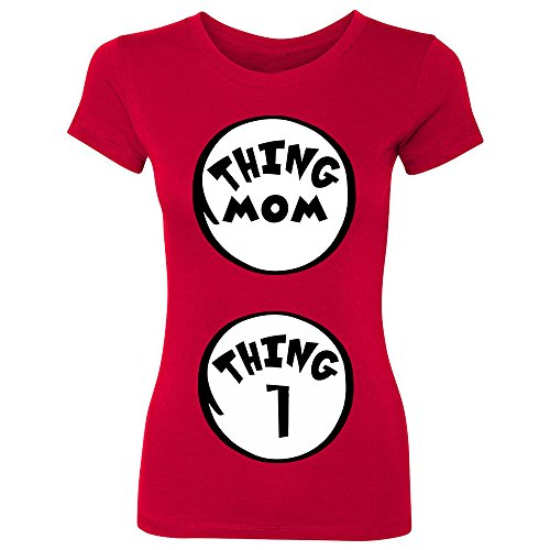 CUSC Thing Mom - Thing 1 Women's T-shirt Halloween Costume Customizable Tell You Are Pregnancy Announcement Shirts Tee Red (2)