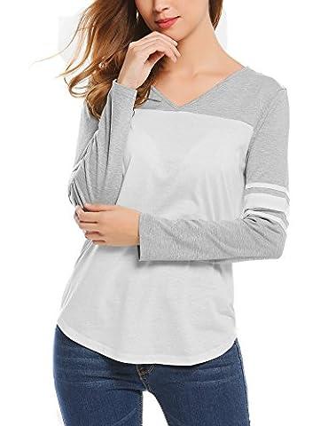 Miageek Womens V Neck Long Sleeve Raglan Baseball T-shirts - Long Sleeve Raglan Baseball