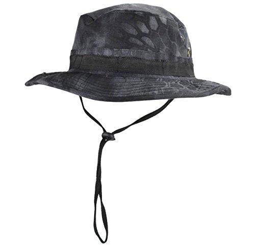 jffcestore Men's Military Camo Boonie Hat Fishing Sun Hat Wide Brim Bucket Hat with Adjustable Strap(Black ty) (Jeep Camo Hat)