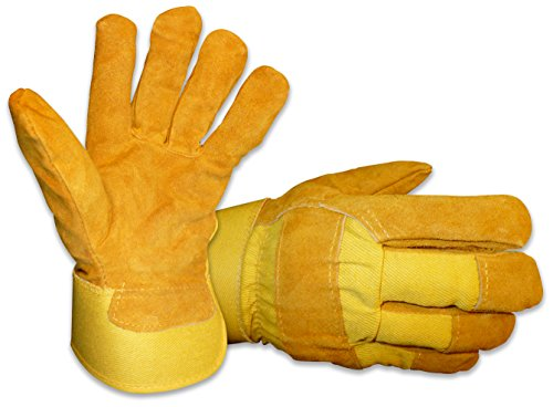 Mens B&G Heavy Work Insulated Fleece Pile Lined Leather Winter Gloves, Size L, Bourbon Light Brown/Gold
