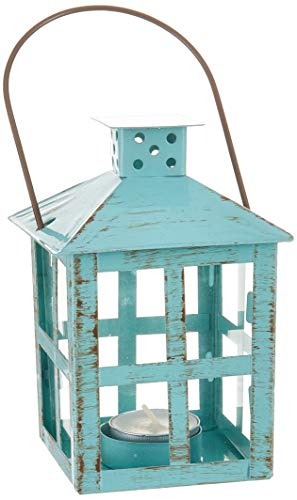 Kate Aspen 14130BL Vintage Distressed Lantern, medium, Blue ()