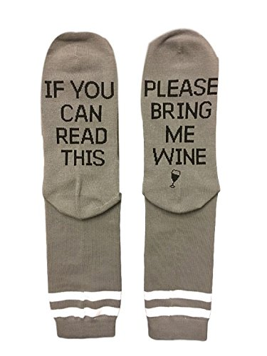Price comparison product image Saucey Socks - Please Bring Me Wine Socks (9-11,  WINE - Grey with Black Lettering - PRIME)