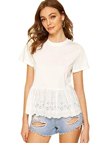 Romwe Women's Short Sleeve Ruffle Hem Embroidery Summer Cute Cotton Blouse Top White M