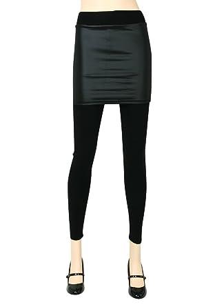 e8ba49f34e ililily Women's Soft Winter Treggings with Faux Leather Skirt Skinny ...