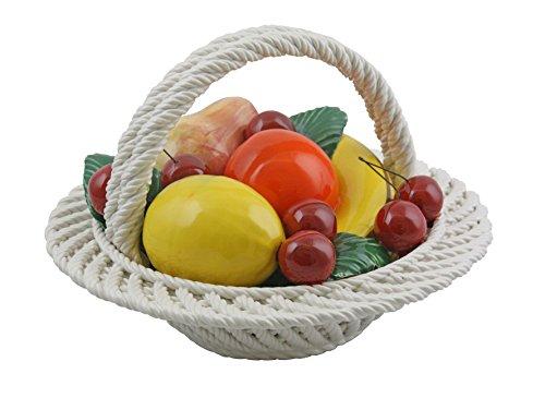 Authentic Italian Capodimonte Round Mix Fruit Basket Table Top Decoration