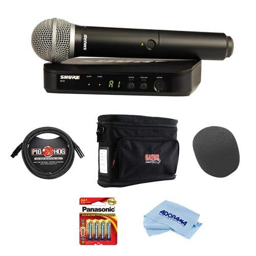 Shure BLX24/PG58 Vocal Wireless System, Includes BLX2 Handheld Transmitter with PG58 and BLX4 Single-Channel Wireless Receiver, J10: 584-608 MHz - Bundle With Gator GM-1W Wireless System Bag and More by Shure