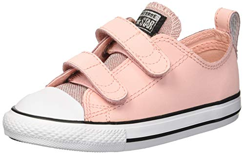 k Taylor All Star Glitter Leather 2V Low Top Sneaker Storm Pink/Black/White 9 M US Toddler ()