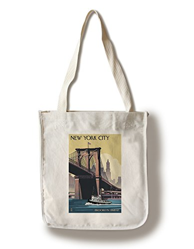 - Lantern Press New York - Brooklyn Bridge (100% Cotton Tote Bag - Reusable)