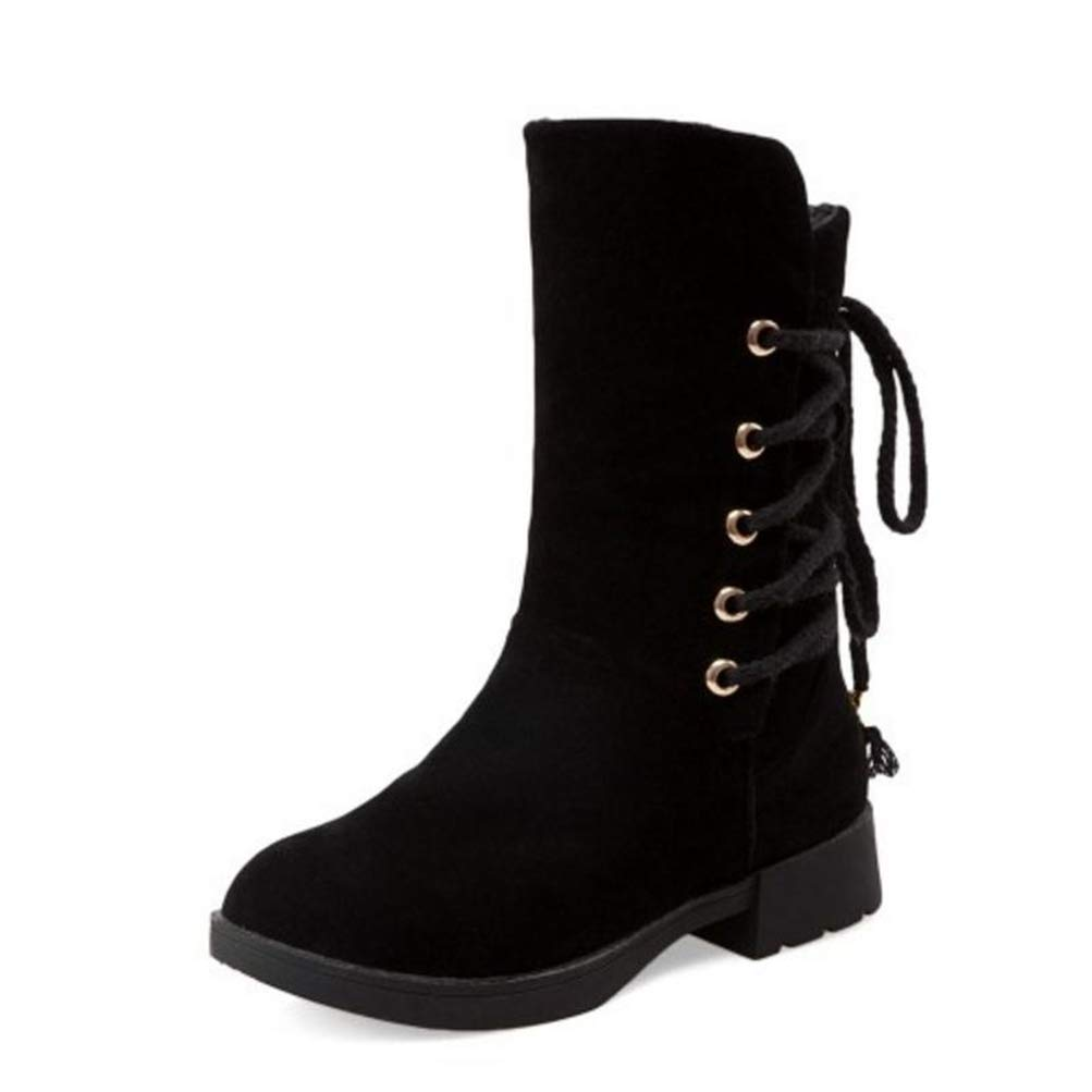 Black T-JULY Snow Boots Women Cross Strap Round Toe Warm Winter shoes Women Mid Calf Boots Concise Office Lady Footwear Size 33-43