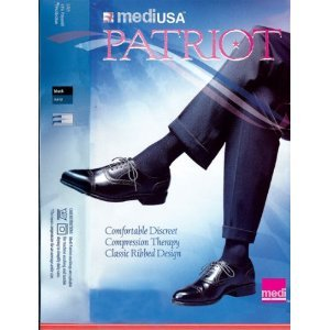 Patriot by Medi Economy Mens Ribbed Support Knee High 30-40mmHg Closed Toe, S, Black