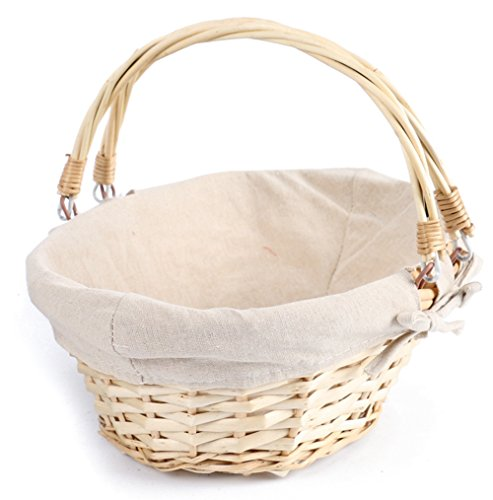 Lined Picnic Basket (MEIEM Easter Basket Gift Basket Oval Willow Basket with Double Drop Down Handles Cheap Wicker Woven Picnic Basket (Natural))