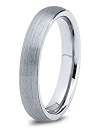 Tungsten Wedding Band Ring 4mm for Men Women Comfort Fit Domed Round Brushed