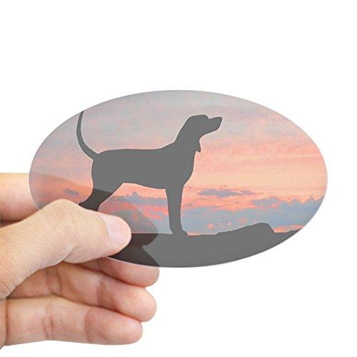 Hound Bumper Sticker (CafePress - Bluetick Coonhound Sunset Oval Sticker - Oval Bumper Sticker, Euro Oval Car Decal)