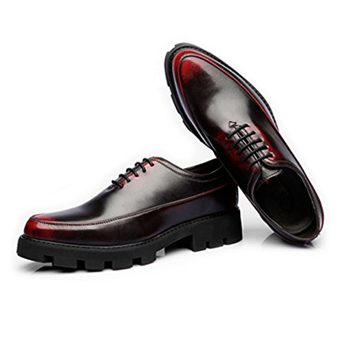 pelle Wine casual forte da PU in Outsole 38 Prom uomo Primavera Wine Scarpe EU Estate Foderato Oxfords Matte Color Fang Lace shoes 2018 Up Fodera traspirante Size xwRFXqWnpv