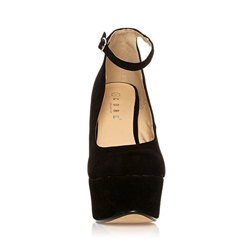 Heel Platform STELLA Suede Wedge High Shoes Black Faux Very YrqwY0E