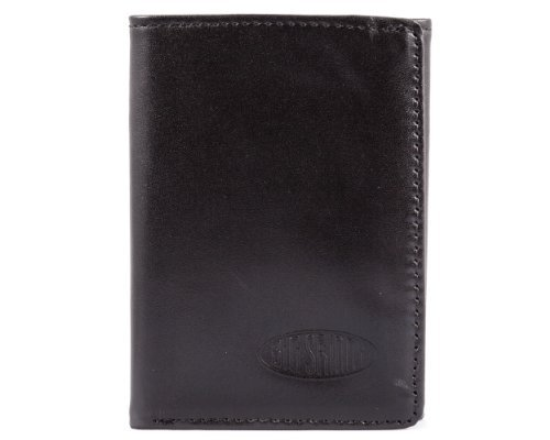 -Fold Leather Slim Wallet, Holds Up to 25 Cards, Black ()