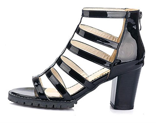 YCMDM Womens Peep Toe High Heel Salsa Tango ballo latino Monk Strap Sandals di ballo di sera del partito da sposa , black , 36