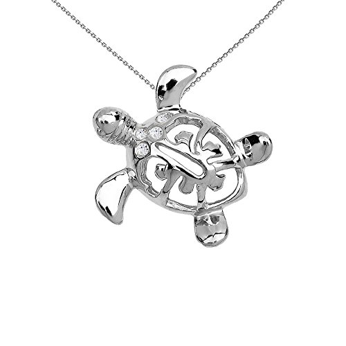 Dainty 10k White Gold Diamond Hawaiian Lucky Charm Honu Turtle Pendant Necklace, ()