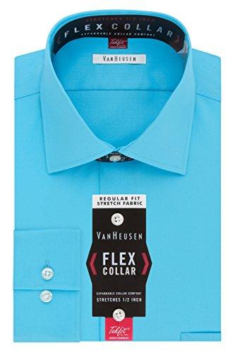 Van Heusen Men's Flex Collar Regular Fit Solid Spread Collar Dress Shirt, Blue Ocean, 18.5
