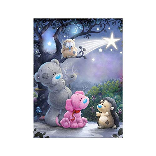(LOVEER 5D Diamond Painting Full Drill Kits for Kids by Number Kits, Teddy Bear DIY Embroidery Rhinestone Paintings Cross Stitch Kit 10 x 8 Inch Wall Art Home Decor (A))