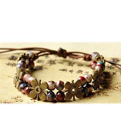 (Bronze Flower Beaded Bracelets Weave Rope Cuff Bangles Ceramic Beads Charm Wristband Women Bohemia Jewelry)