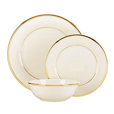 Lenox Eternal Gold-Banded Fine China 5-Piece Place Setting - Elegant 4 piece settings Includes Dinner Plate, Bread And Butter Plate, Coffee cup and Saucer Crafted of ivory fine china accented with 24-karat gold - kitchen-tabletop, kitchen-dining-room, dinnerware-sets - 41pYcvwBSJL. SS400  -