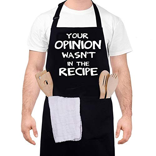 Your Opinion WASN`T in The Recipe - Funny Black Aprons for Men, Women with 2 Big Pockets Birthday Gifts for Husband, Dad, Son, Boyfriend, Friends, Mom - Kitchen Cooking Grilling BBQ Apron,Best AprO