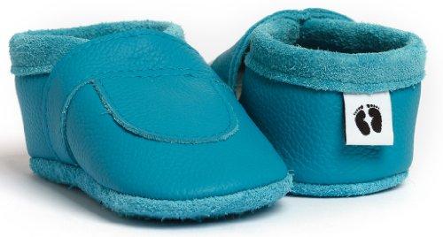 little foot company®, handgemachte Markenqualität aus Deutschland, weiches Komfortleder, Krabbelschuhe, Babypuschen in türkis
