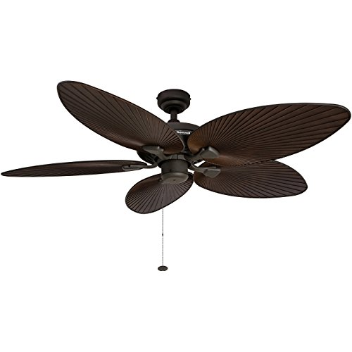 - Honeywell Palm Island 52-Inch Tropical Ceiling Fan, Five Palm Leaf Blades, Indoor/Outdoor, Damp Rated, Bronze