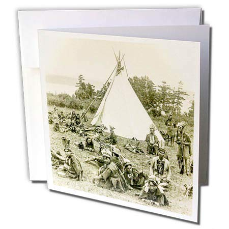 3dRose Scenes from The Past - Magic Lantern - Vintage Indians of Quebec Canada Circa 1910 Glass Slide Photo - 6 Greeting Cards with envelopes - Tee 1910
