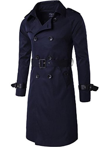 Tootless-Men Solid Colored Silm Business Plus Size Mid-Long Jacket Overcoat Navy Blue 2XL by Tootless-Men