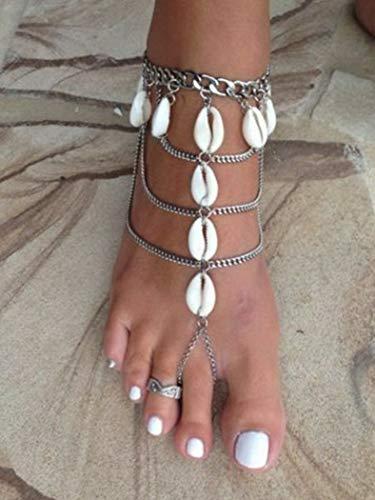 Florance jones Sexy Women Silver Chain Ankle Anklet Bracelet Barefoot Sandal Beach Foot Jewelry | Model BRCLT - 47063 | 35# 1 PC Shell Tassels