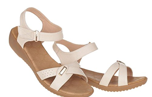 Respeedime white Aged Bottom Shoes Summer Flat Soft Off Leather Sandals Mother Middle Elderly rCf7wrq