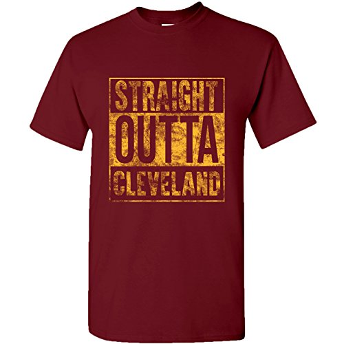 Straight Outta Cleveland Basic Cotton T-Shirt - X-Large - Garnet