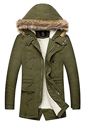NITAGUT Men's Hooded Faux Fur Lined Warm Coats Outwear