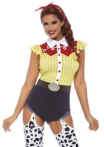 Leg Avenue 3 PC Womens Jessie Cowgirl Costume, Multi, X-Large