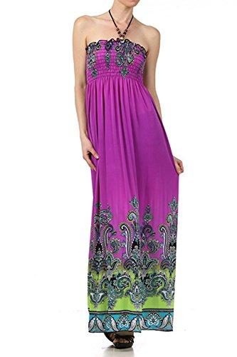 SkyFashion Paisley Multicolored Print Beaded Halter Smocked Bodice Maxi Dress...